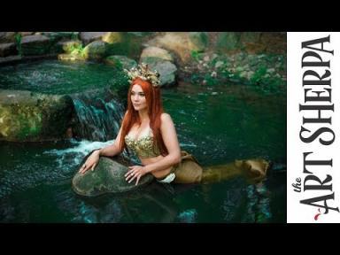 Fresh water Mermaid  acrylic tutorial Fantasy painting Fairytale #1