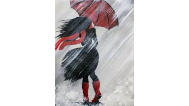 A Girl Walking in the Rain Acrylic Painting on Canvas for Beginners