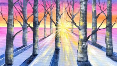 sunlight through trees acrylic painting tutorial beginners on canvas