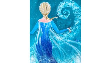Elsa from Frozen  tutorial Acrylic Painting on Canvas for Beginners