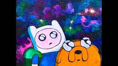 Adventure Time Finn and Jake GALAXY Beginner Acrylic Tutorial