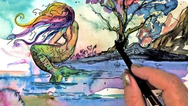 Weeping Mermaid Watercolor Bleeding Speedpaint Art Sherpa