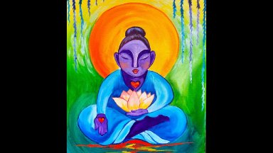 Buddha And Lotus Flower Step By Step Beginner Acrylic Painting