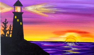 Sunrise Lighthouse Step By Acrylic Painting On Canvas For Beginners The Art Sherpa