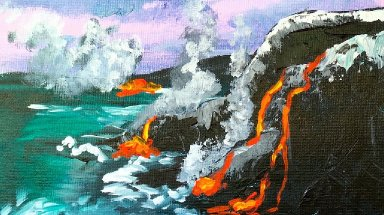 How to Paint LAVA in Acrylic art lesson #bigartquest #21