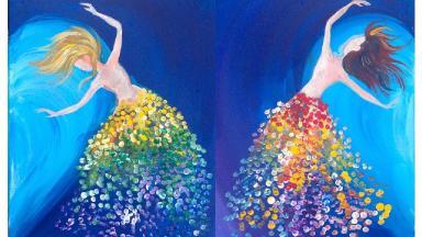 Easy painting Magical Sisters Dancing LOVE Acrylic Beginners Tutorial
