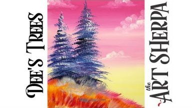 How to paint with Acrylic on Canvas Dee's Tree's Easy landscape