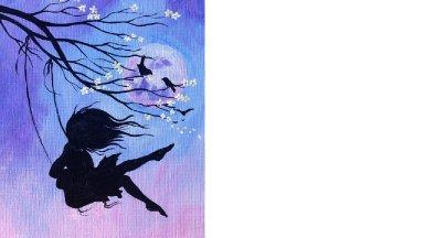 Beginner Acrylic tutorial | Cherry Blossom Swing and Girl | Art Sherpa #coloroftheyearart