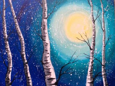 beginner acrylic painting class birch trees lovewinterart the art