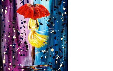 Easy acrylic painting lesson   City Walk Girl in the Rain   Umbrella Art