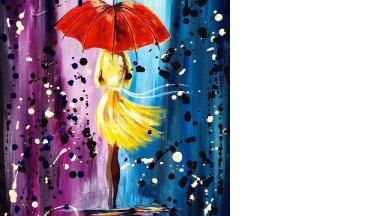 Easy acrylic painting lesson | City Walk Girl in the Rain | Umbrella Art