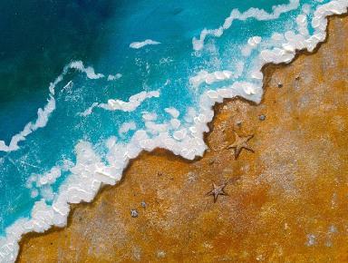 lovesummerart wave on beach painting acrylic easy beginner art