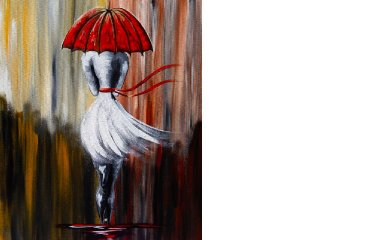 Girl in the Rain   Umbrella Art    Beginner Acrylic Painting Lesson