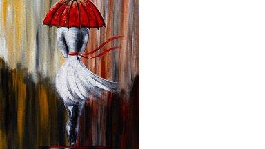 Girl in the Rain | Umbrella Art  | Beginner Acrylic Painting Lesson