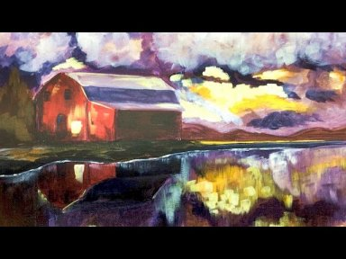 Landscape Acrylic Painting On Canvas Tutorial Red Barn Reflected In A Lake