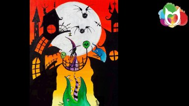 Spooky Town Step by Step Acrylic Painting on Canvas for Beginners