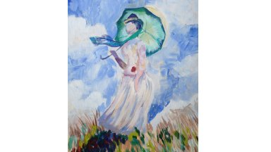 Woman with Parasol Monet Acrylic painting Tutorial for Beginners