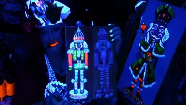 Acrylic Glow painting | Nutcracker Party | Ginger Cook Live and The Art Sherpa