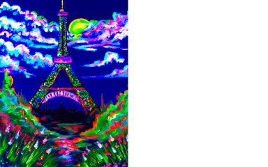 Blacklight Painting Party   How to Paint the Eiffel Tower   Art Sherpa