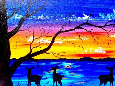 Beginners acrylic painting tutorial | Deer and Sunset Lake | Silhouette