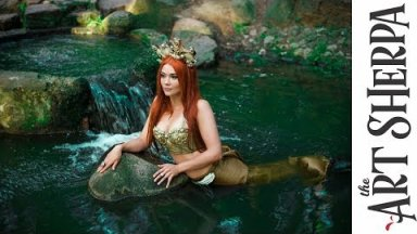 Fresh water Mermaid  acrylic tutorial Fantasy painting Fairytale #5