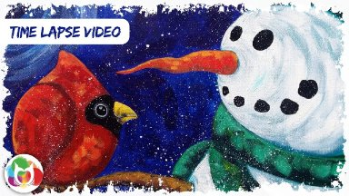 The Art Sherpa's Pre-view Snowman Timelapse painting of upcoming lesson