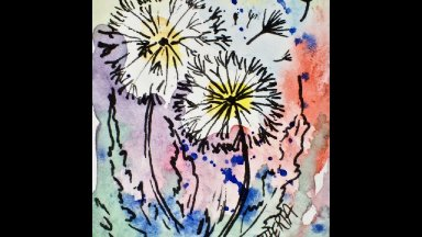 How to paint a watercolor Dandelion for an ATC Art Sherpa