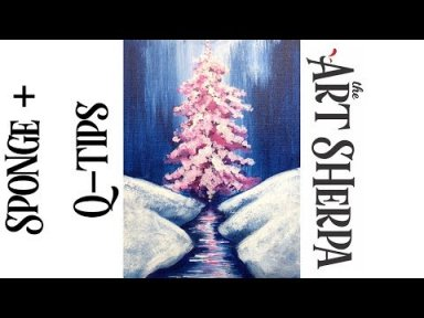 Cotton Swab Painting Technique Pink Christmas Tree  EASY Acrylic tutorial