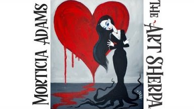 How to paint with Acrylic on canvas Morticia Addams