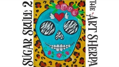 How to paint with Acrylic on canvas Cheetah Sugar Skull a beginner tutorial