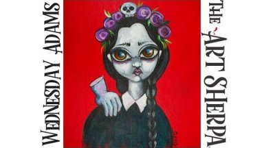 How to paint Acrylic on canvas Wednesday Addams