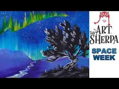 Aurora Borealis Step by Step Acrylic Painting on Canvas for Beginners #SPACEWEEK