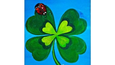 ST Patrick's Day Shamrock Ladybug Beginner Acrylic Painting Full tutorial