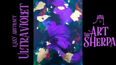 How to paint with Acrylic on Canvas Brushstroke Abstract with Interference violet