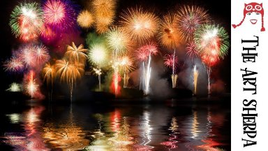 EASY PEASY fireworks over water Acrylic painting tutorial for beginners The Art Sherpa