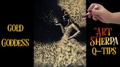 Qtip Gold Splatter Feirce Diva how to paint with acrylic for beginners