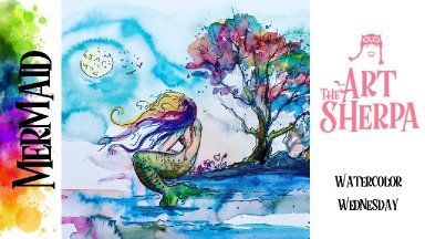 Mermaid Beginners step by step How to paint with watercolor The Art Sherpa
