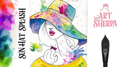 Beginners How to paint with watercolor a Fashion Girl with Splashy Hat