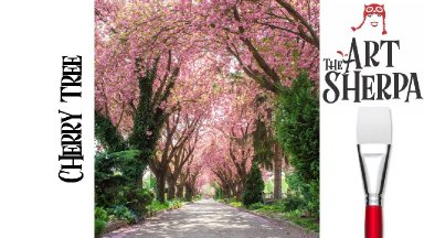 Beginners How to paint with Acrylic on Canvas Cherry Tree Tunnel
