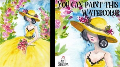 How to Watercolor a Belle Sherpa Girl in a yellow dress with Roses on Paper for beginners