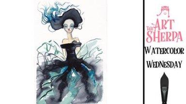 Marchesa Fan Friday Watercolor