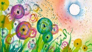 Funky Dandelions Watercolor