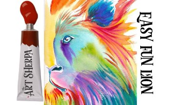 Easy Painting in acrylic of a Colorful Lion using 5 primary colors  Holbein acrylic  set