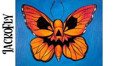 Easy Painting in acrylic Butterfly with jack o'lantern Face