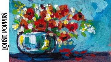 Easy Painting in acrylic Loose Poppies Floral