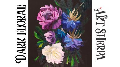 Easy Painting in acrylic Dark Floral for Beginners