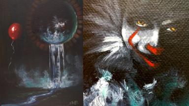 Easy Fan Art of Stephen King's IT Acrylic painting tutorial