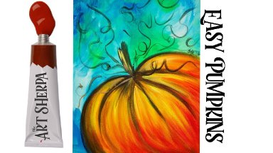 Easy Painting in acrylic Pumpkin step by step for beginners Liquitex Basics