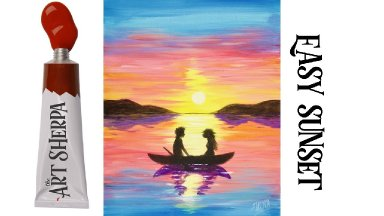 Easy Sunset couple in love acrylic painting step by step Liquitex Basics