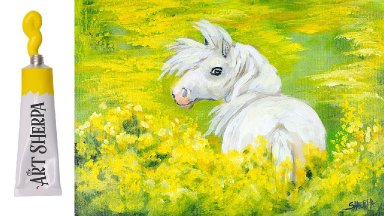 How to paint with Acrylic on Canvas Yellow flowers with white  Pony